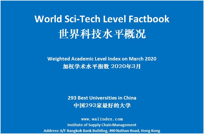 加权学术水平指数(WAL Index)发布,2020年3月更新-第1张图片-中国大学排行榜